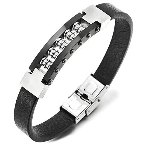 COOLSTEELANDBEYOND Edelstahl Rotierende Schraube Charme Silber Schwarz ID Identifikations Leder-Armband Armreif für Herren