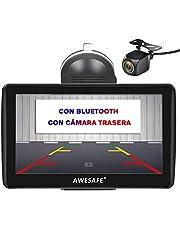 AWESAFE Navegador GPS para Coches con cámara Trasera de 7 Pulgadas con Bluetooth, con Mapas Últimos y Actualizaciones de por Vida