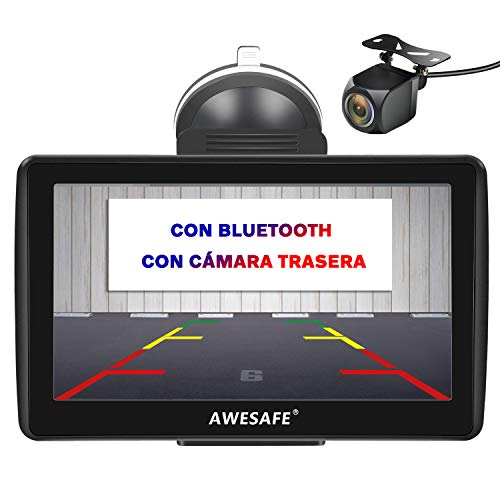 AWESAFE Navegador GPS para Coches con cámara Trasera de 7 Pulgadas con Bluetooth, con Mapas Últimos y Actualizaciones de...