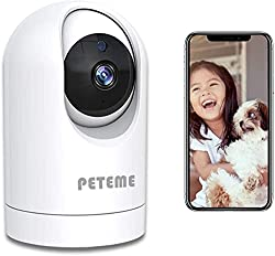 Video Baby Monitor with Camera and Audio,Peteme Baby Monitor 1080P Indoor WiFi Security Camera with Motion Detection Night Vision 2-Way Audio,Monitor Baby/Elder/Pet