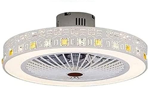Vinteen Victoria Techo Pendiente Ventilador con iluminación 80W Lámpara de techo LED Luz Ultra-silenciosa Velocidad de viento ajustable Luz de techo regulable con control remoto Dormitorio Sala de est
