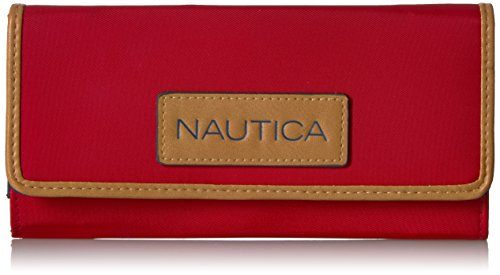 Nautica Women's Perfect Carry-All Money Manager RFID Blocking Wallet Organizer, Red