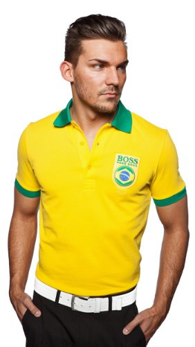 Hugo Boss - Polo - - Uni - Manches courtes Homme Jaune Yellow/green collar and cuffs - Jaune - Yellow/green collar and cuffs - Large