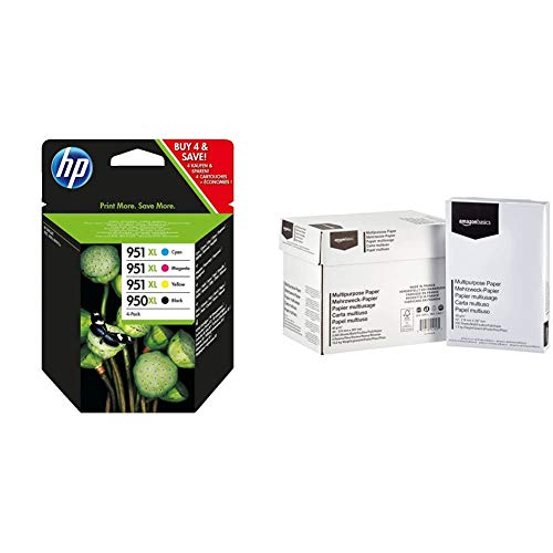 HP 950XL/951XL Multipack Original Druckerpatronen (Schwarz, Blau, Rot, Gelb) mit hoher Reichweite für HP Officejet Pro 276dw, 8600, 8610, 8620, 251dw, 8100 & Amazon Basics Druckerpapier