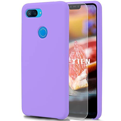 Feyten Cover per Xiaomi Mi 8 Lite [con Vetro Temperato], Custodia Gomma Gel Silicio Liquido con Fodera Microfibra Morbida Caso Silicone Sottile Protettiva Cover (Viola Chiaro)