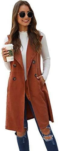 SheIn Women s Double Breasted Long Vest Jacket Casual Sleeveless Pocket Outerwear Longline Brown product image