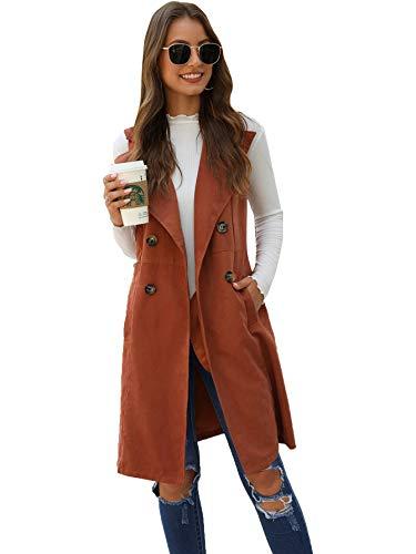 SheIn Women's Double Breasted Long Vest Jacket Casual Sleeveless Pocket Outerwear Longline Brown Medium