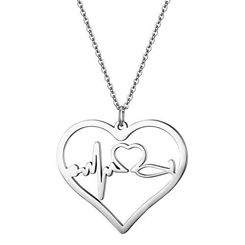 JewelryWe Schmuck Edelstahl Herzschlag Pulse Rhythmus EKG Herzfrequenz Hohl Herz Anhänger mit 45cm Kette, Krankenschwester Arzt Medizinische Stethoskop Charme Halskette für Damen Frau, Silber