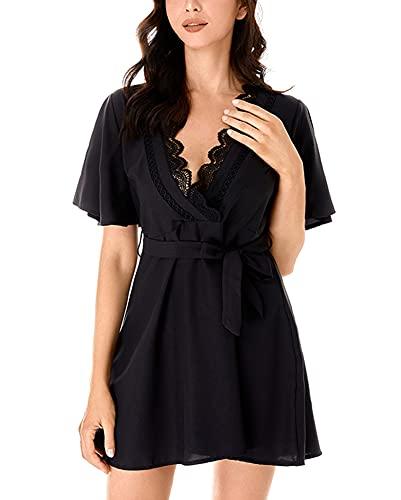LATH.PIN Damen-Kleid aus Spitze, V-Ausschnitt, Nachthemd mit Gürtel, Kurzarm, sexy, für Damen, Sommer, Morgenmantel, Schwarz XL
