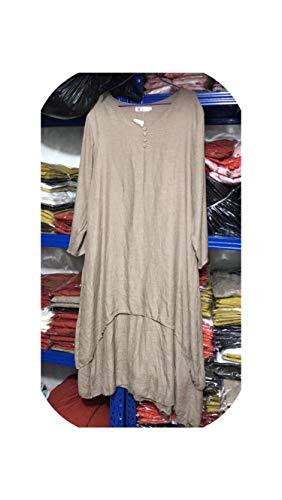 Style Spring Autumn Women Dress Vintage Cotton Linen Loose Dress Vestidos Elbise M 5XL Size Khaki
