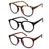 VECIEN 3-Paia Occhiali da Lettura Presbiopia,Montatura per occhiali resistente,Cerniere a Molla/Ovali 3 Colori Uomo Donna (2.5)