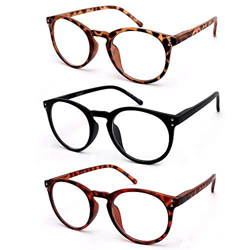 VECIEN Lesebrille 3 Stuecke Federn-Scharnier Brillen Mattes Finish fürein, Kristallgläser gibt Ihnen ultra-klare Sicht, Federscharniere Musterdesign für Männer und Frauen(3.0)