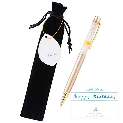 ハーバリウム ボールペン 花 ギフト プレゼント お祝い ゴールド 完成品 ベロア調ケース付き Happy Birthday メッセージ—カード付