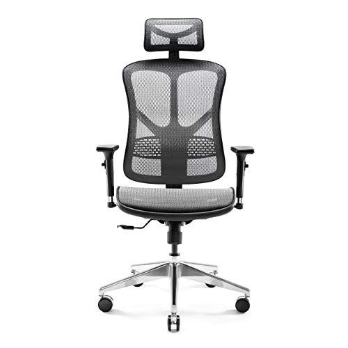 Diablo V-Basic Ergonomischer Stuhl Bürostuhl Chefsessel verstellbare Armlehnen 3D Kopfstütze Wippfunktion Netzstoff Farbwahl (schwarz/grau)