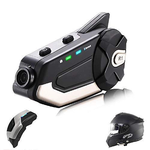 Motocicleta Bluetooth Walkie-Talkie Grabador Impermeable A Prueba de Polvo Gran Angular de 120 ° Cámara Deportiva Equipo Multijugador para chatear Auriculares Radio FM Soporte de Tarjeta SD 64G