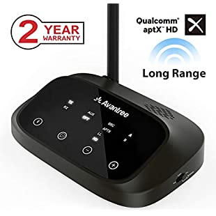 Avantree Oasis Plus aptX HD LONG RANGE Bluetooth Transmitter Receiver for TV Audio, Home Stereo, Optical Wired & Wireless Simultaneously, DUAL LINK LOW LATENCY, Optical RCA 3.5mm AUX [2-Year Warranty]:Cnsrd