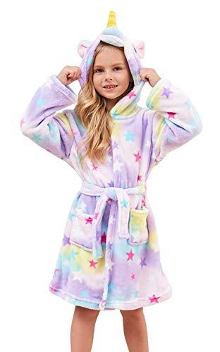 Ksnnrsng Kinder Sanft Einhorn Mit Kapuze Bademantel Nachtwäsche - Einhorn-Geschenke für Mädchen (Star, 6-7 Jahre)