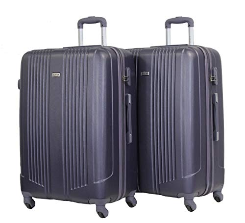 Alistair Airo Set of 2 Large Luggage 75 cm – Ultra-Lightweight and Durable ABS – 4 Wheels – French Brand, Black Grey/Black Grey (Black) - 9089-Lx2-Black Grey/Black Grey