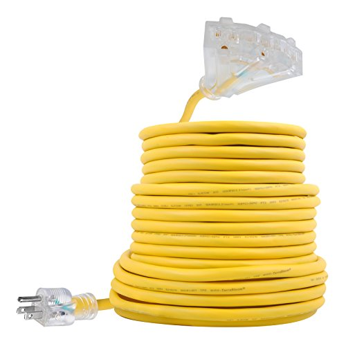 50 FT 12/3 Outdoor Extension Cord - Rubber, Flexible, Triple Outlet, Yellow Wire with Live Power...