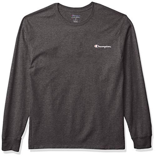Champion Classic tee Camiseta, Granite Heather Left Chest Script, S para Hombre