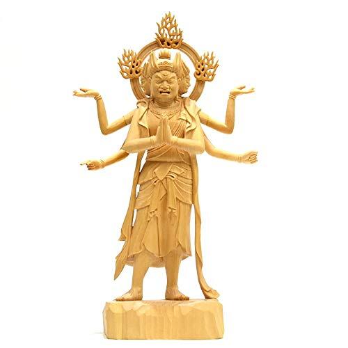 木彫り仏像 桧木【三十三間堂形阿修羅像】 立7.5寸 復刻作品 模造