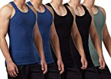 FALARY Camiseta de Tirantes para Hombre Pack de 5 de Algodón 100% más Colores Negro Azul Marino Oliva XL
