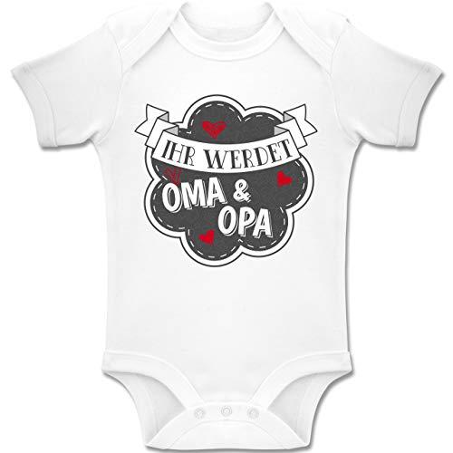 Shirtracer Sprüche Baby - Ihr werdet Oma und Opa - 1/3 Monate - Weiß - BZ10 - Baby Body Kurzarm für Jungen und Mädchen