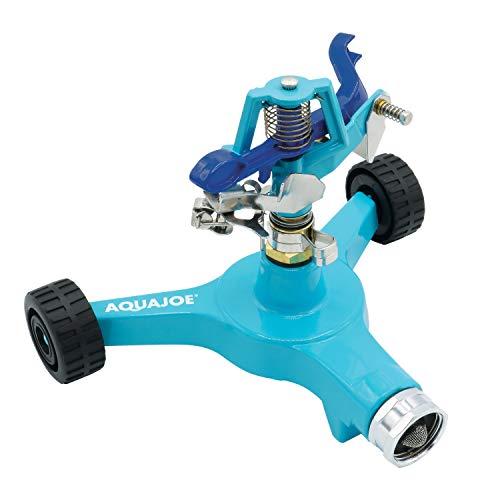 Aqua Joe AJ-IS6WB Indestructible Series Metal Impulse Sprinkler w/Wheeled 6-Inch Base