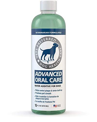 Vets Preferred Dog Breath Freshener Water Additive - Fights Bad Breath, Removes Plaque and Tartar, Prevents Gum Disease - Dog Mouthwash with mild Mint Flavor