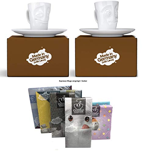 henger-mauk Fiftyeight Espressotassen Espresso Mug 2er Set + SERVIETTEN, 80 ml, VERGNÜGT+LECKER E Mugs 2