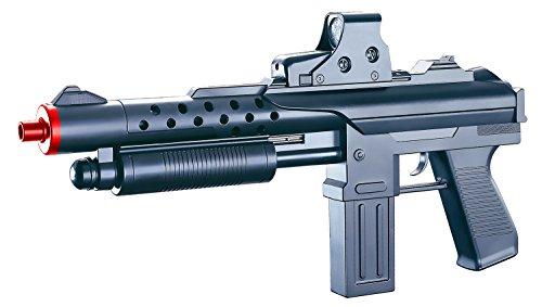 Fucile a pompa calibro 6 mm In plastica Dotato di mirino e caricatore Pallini gialli di plastica inclusi diametro 6 mm Colore: nero con foro d'uscita rosso Lunghezza: 625 mm