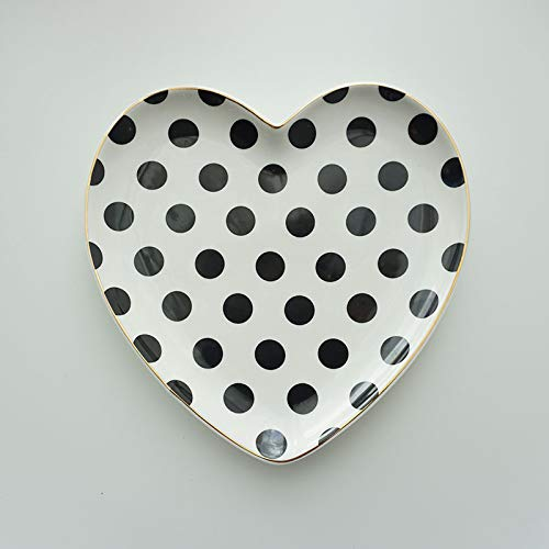 YUWANW Nordic Black and White Love Heart-Shaped Gilt Plate Breakfast Fruit Plate Inventory Heart Cake West Point Creativity Dried Fruit Plate, Dot Heart-Shaped Section