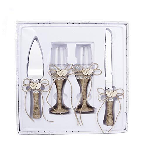 4 piezas suministros de boda – cuchillo para tartas, juego de servir pastel y copas de champán para boda, 2 copas de champán tostado, 1 servidor de pastel y 1 cuchillo de corte, regalos de novio(B)