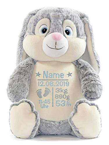 Cubbies Stofftier Teddy Bär, Einhorn, Rentier, Hase, Giraffe, Tiger, Elefant Geschenk mit Namen und Geburtsdatum personalisiert Bestickt 40cm (Hase Grau Junge)