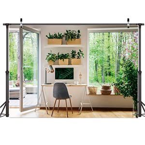 AIIKES 7x5FT Business Office Backdrop Photography Interior Casement Window Work at Home Modern Fat Furniture Apartment Decoration Residential Decoration Video Office backdrop11-882