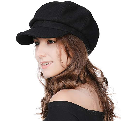 Jeff & Aimy Ladies Merino Wool Visor Beret Newsboy Cabbie Cap Painter Artist Hat Fashion Casual Winter Caps for Women Black Lining 55-58CM