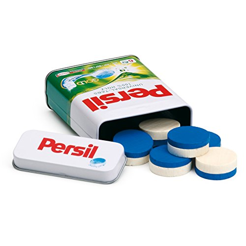 Erzi 21201 Waschmitteltabs Persil in der Dose aus Holz, Kaufladenartikel für Kinder, Rollenspiele