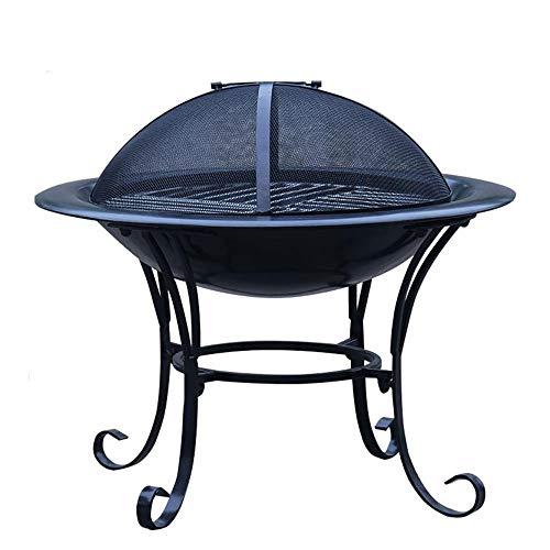 ZOUJUN Feuerstelle im Freien Garten Innenhof Rustic Heavy Frei stehend Runde Schüssel aus rohem Stahl Brazier Kohle Heizung Brazier Bonfire Basket 42x27cm