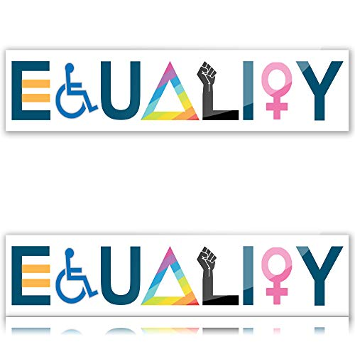 Narrow Minded Equality Pride Vinyl Bumper Stickers for Cars (2 Pack) Equal Rights and Love Waterproof Decals 8'