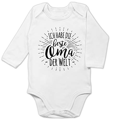 Shirtracer Sprüche Baby - Ich Habe die Beste Oma der Welt - 12/18 Monate - Weiß - Body für Baby oma Spruch Langarm - BZ30 - Baby Body Langarm