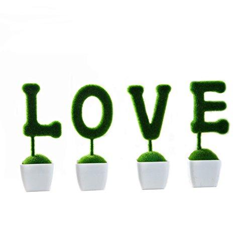 Outflower 4 pcs/lot Creative Vert Plante artificielle en pot élégant Chrysanthème Style rustique de table de jardin Fleur Décoration Mariage/fiançailles Accessoires, PVC, love, 6 * 16cm