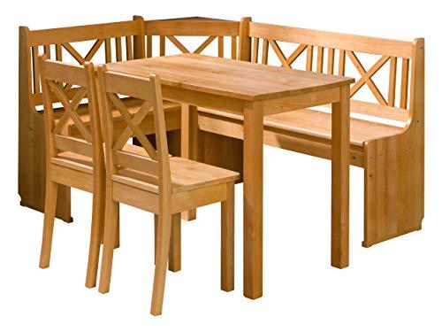 Mirjan24 Eckbankgruppe Ixi, Küchensitzgruppe aus Erlenholz, Eckbank Gruppe besteht aus Kücheneckbank mit 2 praktische Kästen, 2X Hocker, Tisch, Esszimmer Sitzbank (Erle)