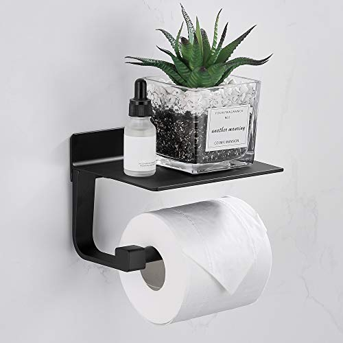 Gricol Toilettenpapierhalter Ohne Bohren Selbstklebender Toilettenpapierhalter aus Aluminium Papier Halterung mit Ablage für Küche und Bad Schwarz
