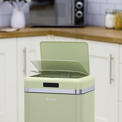 Swan Retro Kitchen Bin with Infrared Technology - Green, 45 Litre
