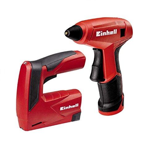 Einhell 4257213 Pack Pistola de Pegamento Caliente, 0 W, 3.6 V, Pistoa de pegar + grapadora