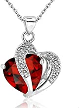 Waymeduo- Peach Heart Four Leaf Lucky Luck Clover Pendant Necklace Rhinestone Crystal Inlayed Jewelry for Girls Women -red