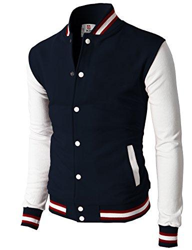 H2H Mens Slim Fit Varsity Baseball Bomber Cotton Lightweight Premium Jacket  Cmoja082-navy Medium