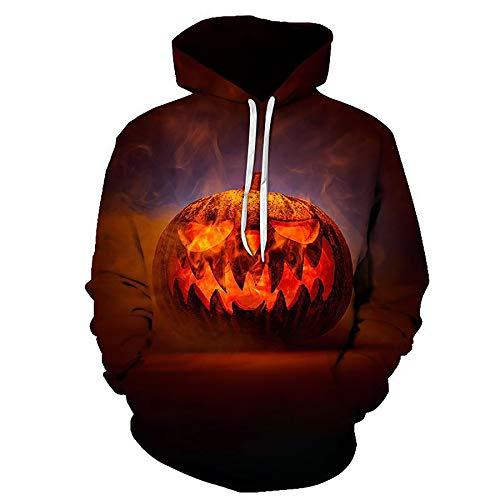Zaima Sudaderas con Capucha Unisex Halloween 3D Print Pullover Ligeras Bolsillos Hombres Sudadera Funny Horror Digital Mujeres