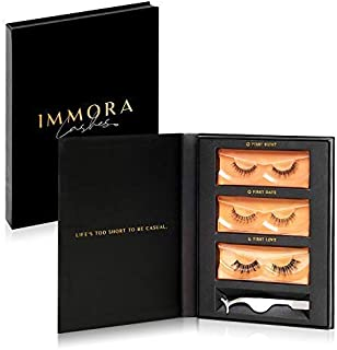 Immora Lashes Premium Mink False Eyelashes Pack | Natural Look and Feel | Set includes 3 Pairs of Fake Lashes and Applicator | Reusable | 100% Handmade & Cruelty-Free