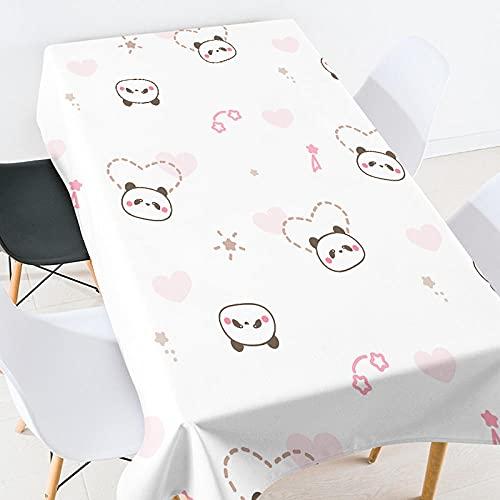 Mantel Rectangular de Poliéster Panda de Dibujos Animados Blanco Resistente Al Agua, Resistente A Las Manchas para La decoración del Hogar de La Mesa de La Cocina 120X160Cm